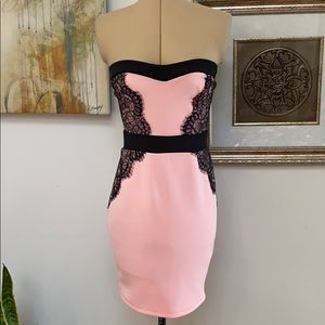 Pink Strapless Lulu's Dress with Black Lace Accent